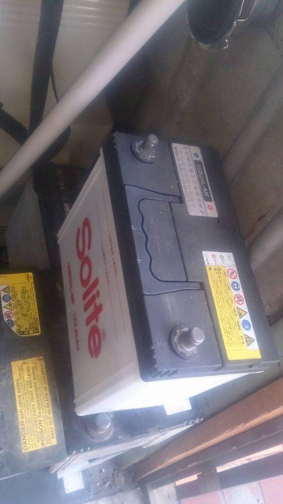 倉敷市児島小川で回収したバッテリー