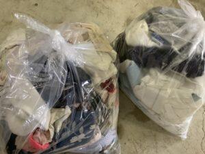 福山市曙町で回収した袋詰めした衣類