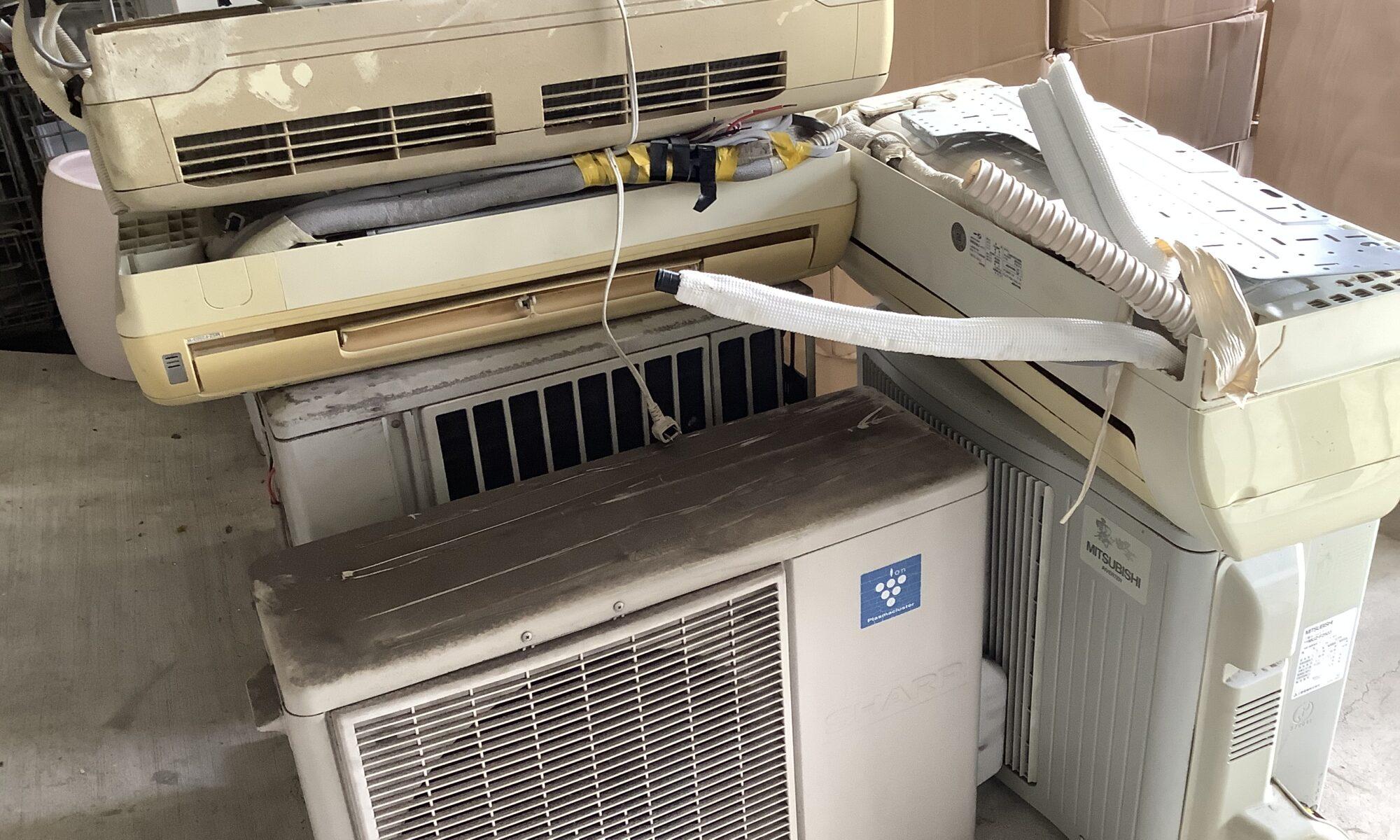 福山市曙町で回収したエアコン3台